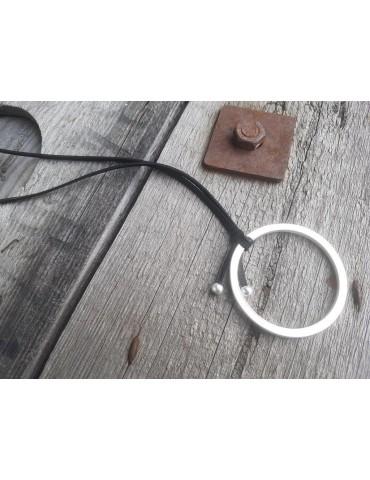 Modeschmuck Kette Halskette lang schwarz silber Metall Textil Kreis