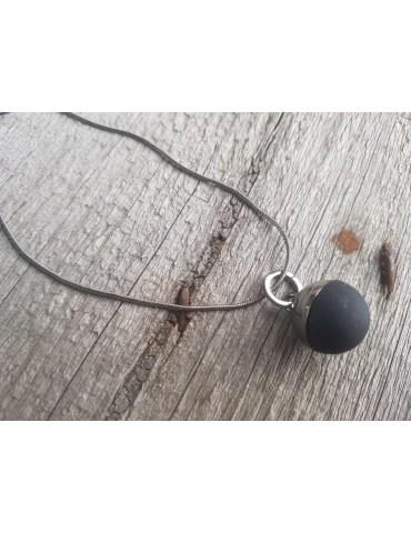 Modeschmuck Kette Halskette kurz anthrazit schwarz Metall Kunststoff Kugel