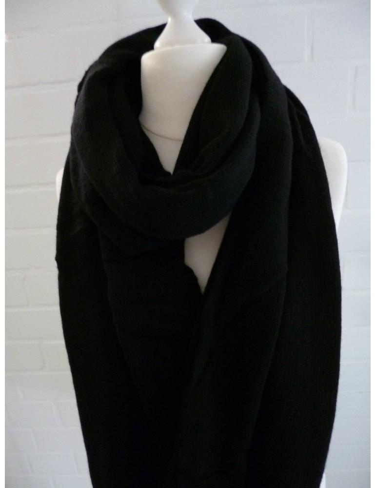 XXL Schal Stola Poncho schwarz black uni mit Kaschmir Made in Italy