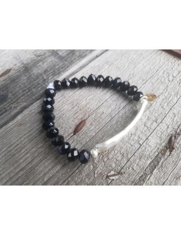Armband Kristallarmband Perlen schwarz silber Metall Kunststoff