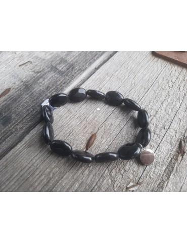 Damen Armband Plättchen schwarz black Kunststoff Onesize
