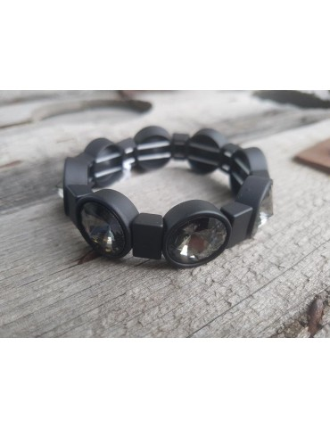 Damen Armband Elastisch schwarz braun Kunststoff Metall Onesize