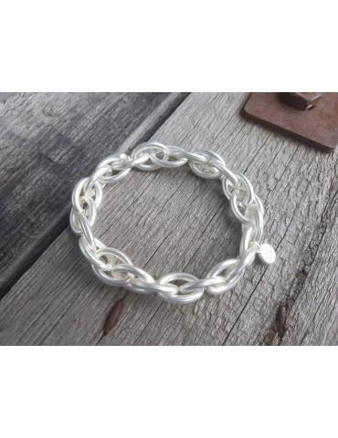 Trendiges Gliederarmband Elastisch silber silver matt Kunststoff Onesize