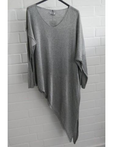 Xuna Damen Strick Pullover V-Ausschnitt grau grey Baumwolle Onesize ca. 38 - 44