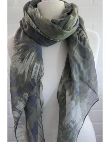 Schal Tuch Loop Made in Italy Seide Baumwolle oliv helloliv blau Batik