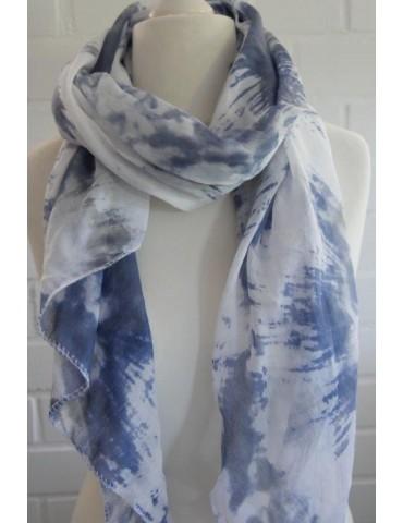 Schal Tuch Loop Made in Italy Seide Baumwolle weiß creme bleu bunt Batik
