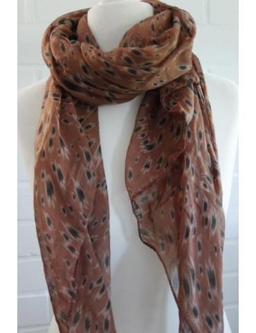 Schal Tuch Loop Made in Italy Seide Baumwolle rost beige braun schwarz Pinselstrich