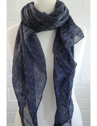 Schal Tuch Loop Made in Italy Seide Baumwolle dunkelblau grau schwarz Pinselstrich