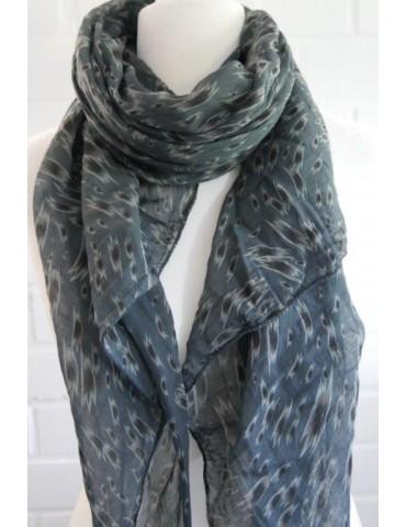 Schal Tuch Loop Made in Italy Seide Baumwolle anthrazit grau schwarz taupe Pinselstrich