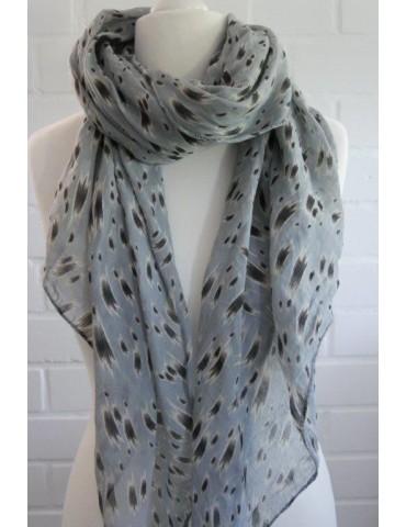 Schal Tuch Loop Made in Italy Seide Baumwolle hellgrau beige schwarz Pinselstrich