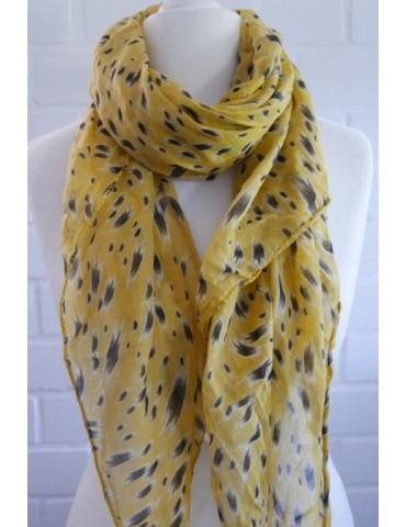 Schal Tuch Loop Made in Italy Seide Baumwolle senf gelb beige schwarz Pinselstrich