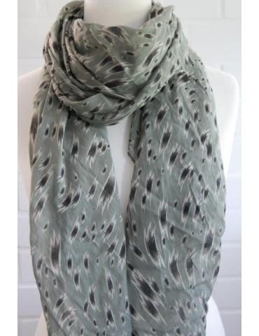 Schal Tuch Loop Made in Italy Seide Baumwolle oliv grün beige schwarz Pinselstrich