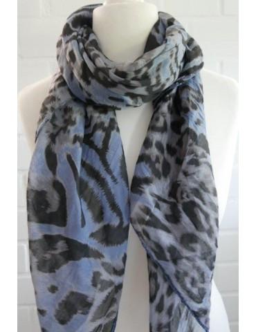 Schal Tuch Loop Made in Italy Seide Baumwolle jeansblau grau braun schwarz Leo