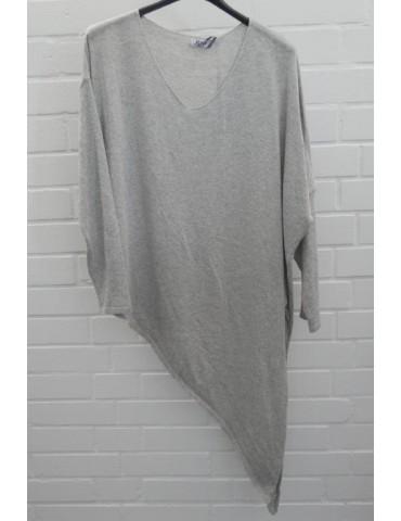 Xuna Damen Strick Pullover V-Ausschnitt hellgrau grau Baumwolle Onesize ca. 38 - 44