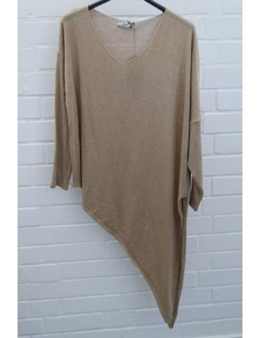 Xuna Damen Strick Pullover V-Ausschnitt beige sand Baumwolle Onesize ca. 38 - 44