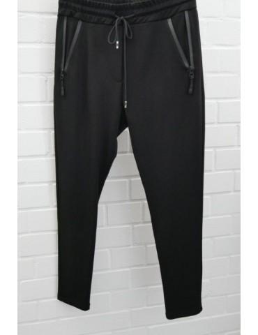 ESViViD Bequeme Sportliche Damen Hose schwarz black Reißverschluss uni 7130