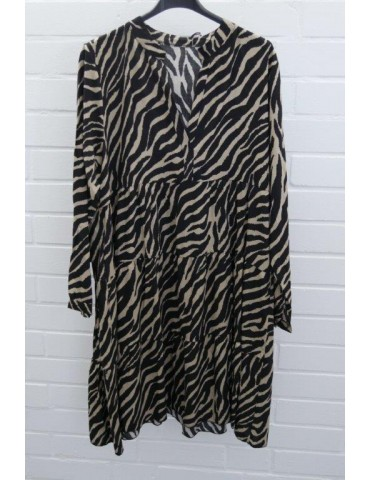 Damen Tunika Kleid A-Form schwarz beige Zebra Onesize ca. 36 - 42