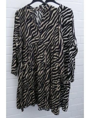 Damen Tunika Kleid A-Form schwarz creme Zebra...