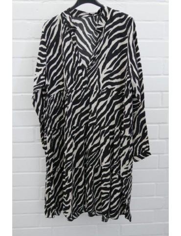 Damen Tunika Kleid A-Form schwarz creme Zebra Onesize ca. 36 - 42