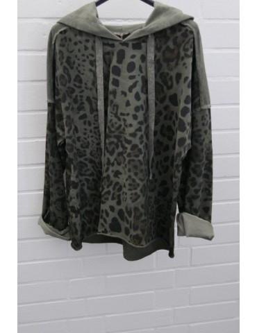 Damen Sweat Shirt Hoodie langarm oliv khaki schwarz braun mit Baumwolle Onesize 38 - 42
