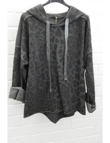 Damen Sweat Shirt Hoodie langarm anthrazit schwarz mit Baumwolle Onesize 38 - 42