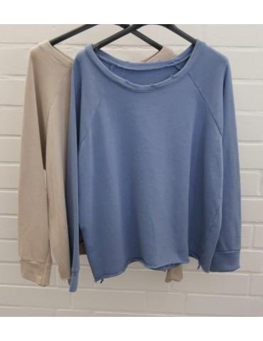 Damen Sweat Shirt langarm blau Baumwolle...