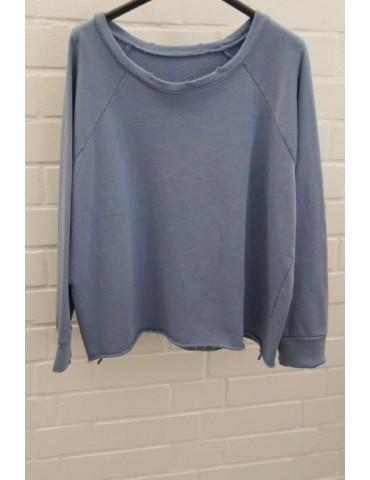 Damen Sweat Shirt langarm blau Baumwolle Onesize 38 - 42