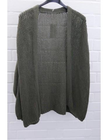 Damen Strick Jacke oliv grün khaki uni Baumwolle Onesize 36 - 42