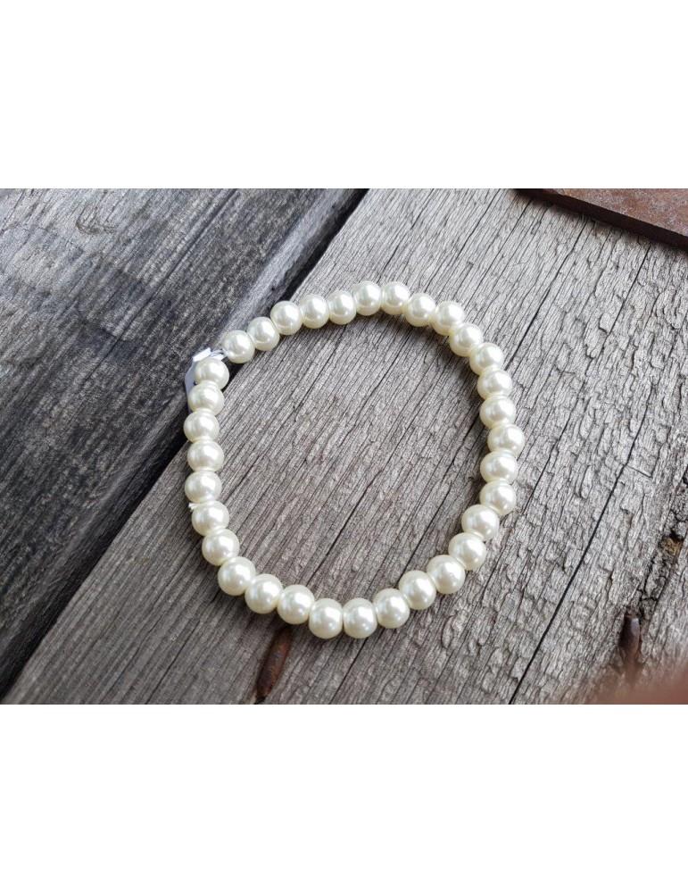 Armband Perlenarmband Perlen mittel weiß Glanz Schimmer elastisch
