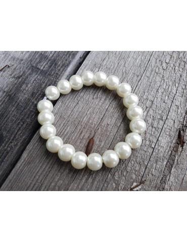 Armband Perlenarmband Perlen groß weiß Glanz Schimmer elastisch