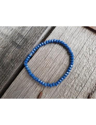 Armband Kristallarmband Perlen mittel blau klein Glitzer Schimmer elastisch