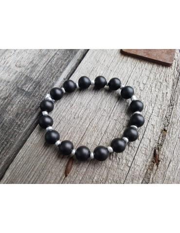Damen Armband Elastisch schwarz Perlen Kunststoff Metall Onesize