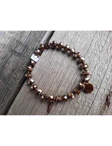 Damen Kristall Armband elastisch braun Schimmer Perlen Kunststoff Onesize
