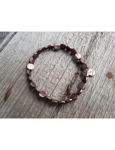 Armband Metallarmband Perlen klein braun brown matt Plättchen elastisch