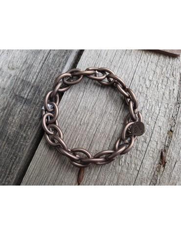 Trendiges Gliederarmband Elastisch braun brown matt Kunststoff Metall Onesize