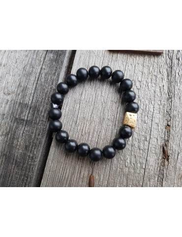 Damen Armband Elastisch schwarz gold Perlen Kunststoff Onesize
