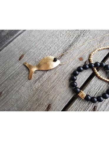Damen Armband Elastisch schwarz gold Perlen...
