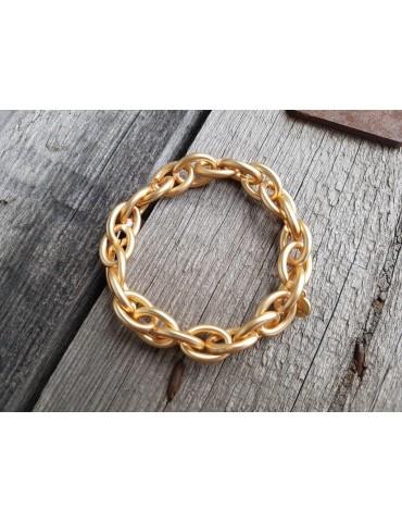 Trendiges Gliederarmband Elastisch gold matt Kunststoff Metall Onesize