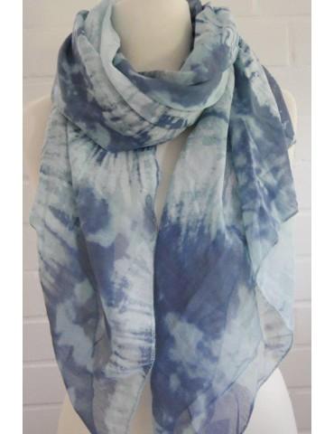 Schal Tuch Loop Made in Italy Seide Baumwolle bleu mint weiß bunt Batik