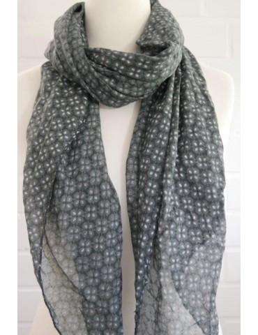 Schal Tuch Loop Made in Italy Seide Baumwolle anthrazit grau weiß Blumen
