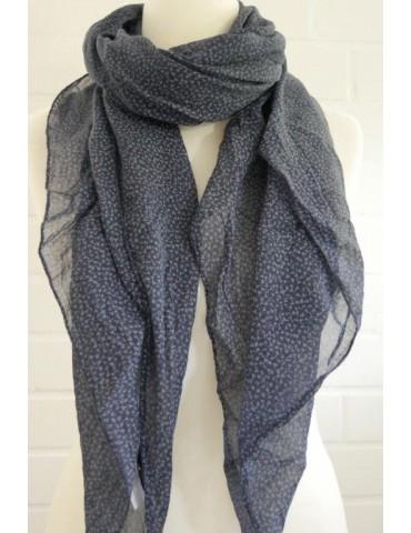 Schal Tuch Loop Made in Italy Seide Baumwolle dunkelblau bleu Streu Blumen