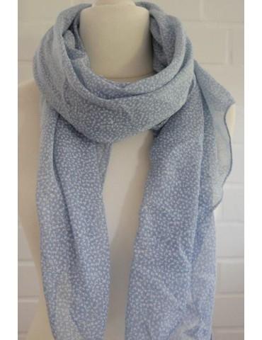Schal Tuch Loop Made in Italy Seide Baumwolle hellblau blau weiß Streu Blumen
