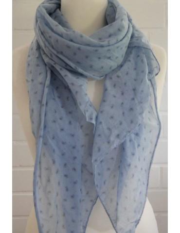Schal Tuch Loop Made in Italy Seide Baumwolle hellblau blau Mini Paisly