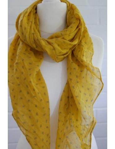 Schal Tuch Loop Made in Italy Seide Baumwolle senf gelb schwarz Mini Paisly