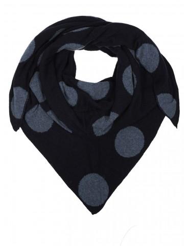 Zwillingsherz Wende Dreieckstuch dunkelblau grau Riesen Punkte mit Kaschmir