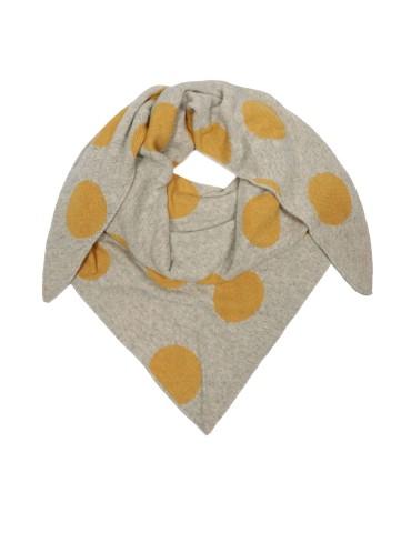Zwillingsherz Wende Dreieckstuch natur beige gelb Riesen Punkte mit Kaschmir