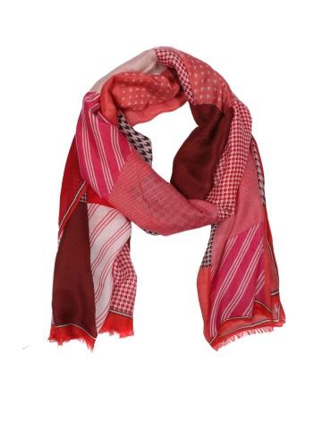 Leichter XL Damen Schal Tuch rot pink creme bunt Hahnentritt