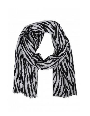 Leichter XL Damen Schal Tuch schwarz weiß Zebra Animal Print