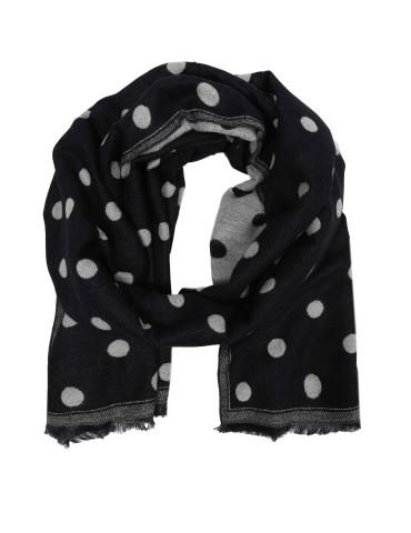 XL Damen Winterschal Schal dunkelblau weiß Punkte Fransen
