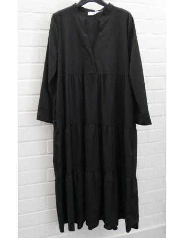 ESViViD Damen Midikleid Maxikleid schwarz black mit Baumwolle Stufen Kleid